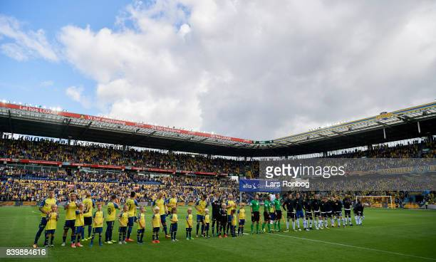 General view of the two teams walking on to the pitch prior to the Danish Alka Superliga match between Brondby IF and AC Horsens at Brondby Stadion...