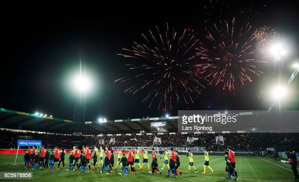 General view of the two teams walking on to the pitch prior to the Danish Alka Superliga match between FC Midtjylland and Brondby IF at MCH Arena on...