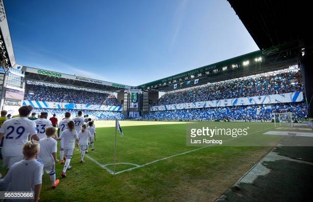 General view of the two teams walking on to the pitch prior to the Danish Alka Superliga match between FC Copenhagen and Brondby IF at Telia Parken...