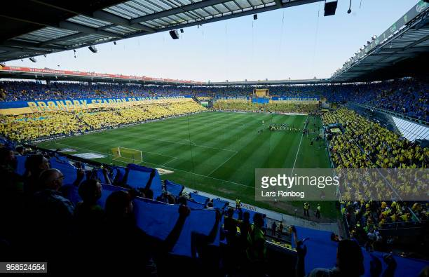 General view of the two teams walking on to the pitch prior to the Danish Alka Superliga match between Brondby IF and FC Midtjylland at Brondby...