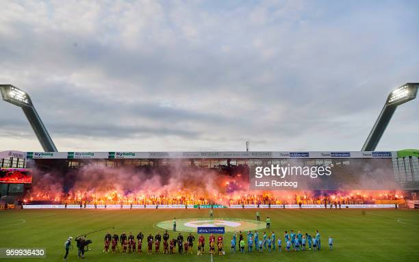 General view of the two teams walking on to the pitch prior to the Danish Alka Superliga match between AC Horsens and Brondby IF at CASA Arena...