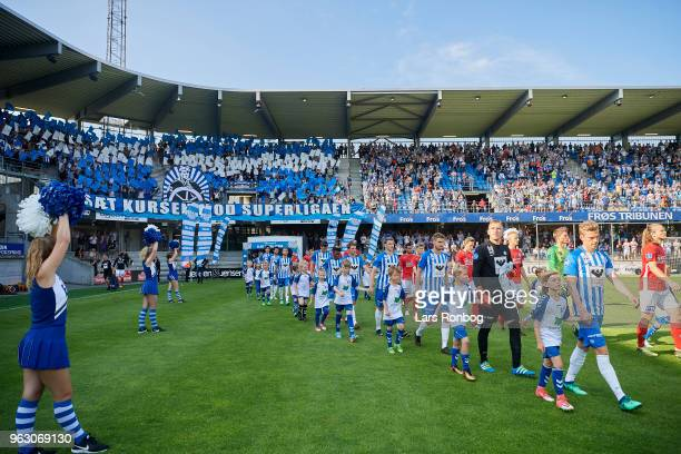 General view of the two teams walking on to the pitch prior to the Danish Alka Superliga Playoff match between Esbjerg fB and Silkeborg IF at Blue...