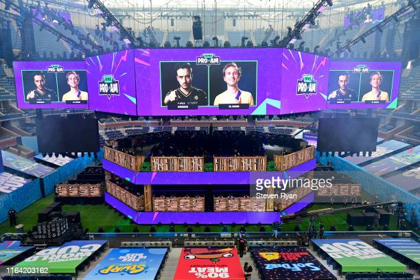 A general view of the twostory player stage inside of Arthur Ashe Stadium designed by Steve Kidd and Guy Pavelo during previews ahead of the 2019...