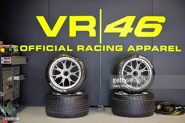 A general view of the tyres inside Valentino Rossi's Team Kessel Racing Ferrari 458 Italia garage during the Blancpain GT Endurance test day one at...