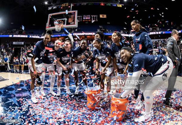 General view of the UConn Huskies after winning the American Athletic Conference women's basketball championship at Mohegan Sun Arena on March 9,...