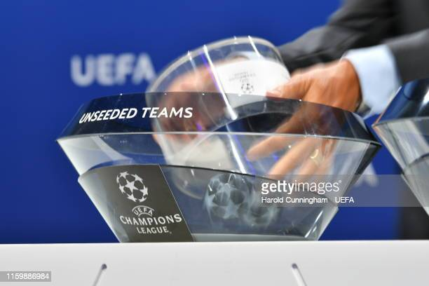 General view of the UEFA Champions League 2019/20 Play-off draw at the UEFA headquarters, The House of European Football on August 5, 2019 in Nyon,...