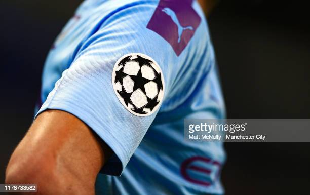 A general view of the UEFA Champions League badge on the shirt worn by Riyad Mahrez of Manchester City during the UEFA Champions League group C match...