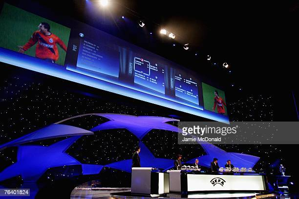 General view of the UEFA Champions League Draw during the UEFA Champions League Group Stage Draw at the Grimaldi Forum on August 30, 2007 in Monte...