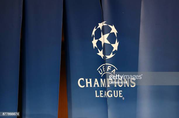General view of the UEFA Champions league logo during the UEFA Champions League group B match between Paris SaintGermain and Celtic FC at Parc des...