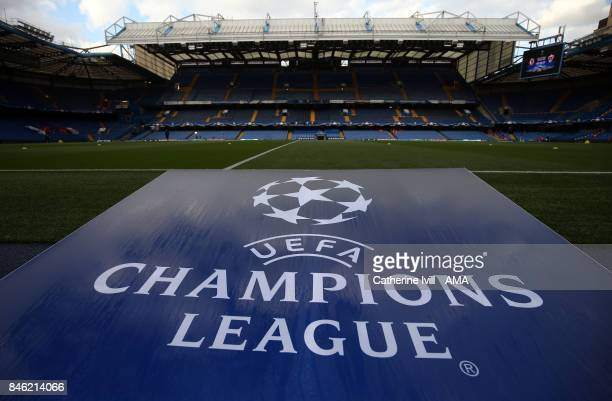 General view of the UEFA Champions League logo during the UEFA Champions League group C match between Chelsea FC and Qarabag FK at Stamford Bridge on...