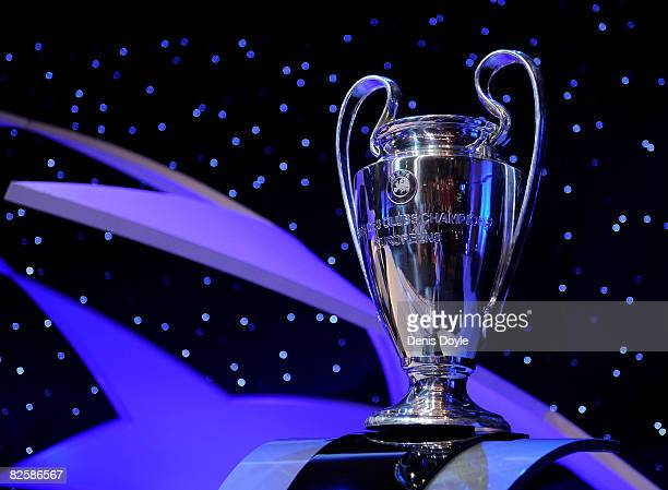 A general view of the UEFA Champions League trophy at the UEFA Champions League Draw for the 2008/2009 season at the Grimaldi Center on August 28...