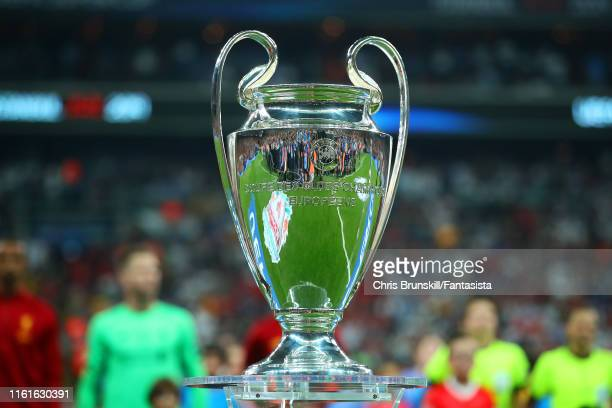 General View of the UEFA Champions League trophy prior to the UEFA Super Cup match between Liverpool and Chelsea at Vodafone Park on August 14, 2019...