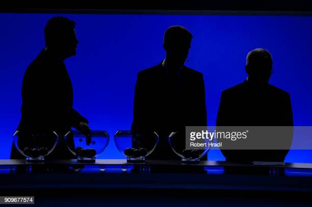 A general view of the UEFA draw bowls during the UEFA Nations League Draw 2018 at Swiss Tech Convention Center on January 24 2018 in Lausanne...