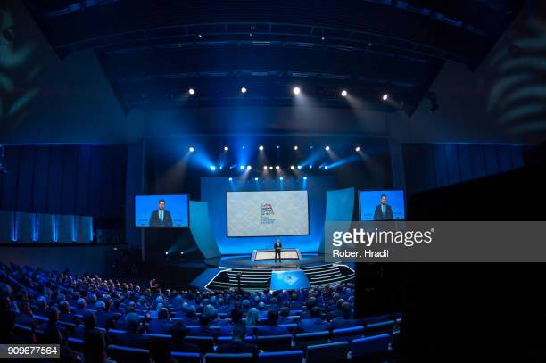 A general view of the UEFA draw ceremony during the UEFA Nations League Draw 2018 at Swiss Tech Convention Center on January 24 2018 in Lausanne...