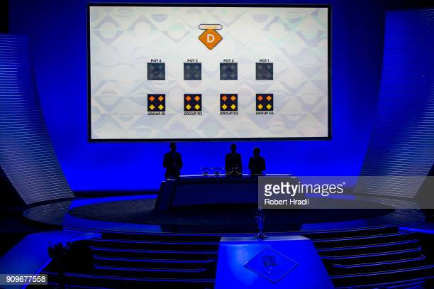 A general view of the UEFA draw during the UEFA Nations League Draw 2018 at Swiss Tech Convention Center on January 24 2018 in Lausanne Switzerland