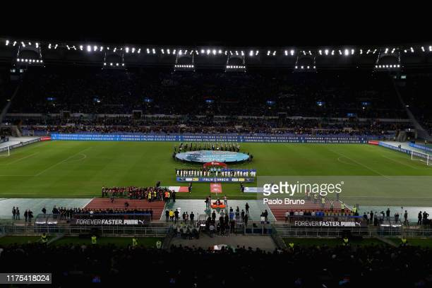A general view of the UEFA Euro 2020 qualifier between Italy and Greece at Stadio Olimpico on October 12 2019 in Rome Italy