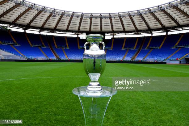 General view of the UEFA Euro 2020 Trophy at Stadio Olimpico during the UEFA Euro 2020 Trophy Tour of Rome on April 20, 2021 in Rome, Italy.