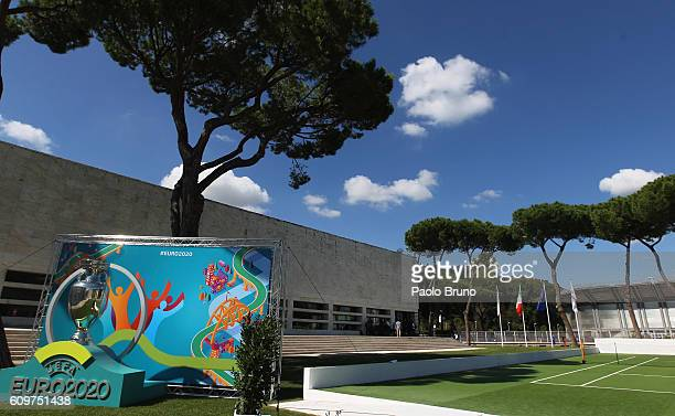 A general view of the UEFA Euro Roma 2020 Official Logo unveiling at Palazzo delle Armi on September 22 2016 in Rome Italy
