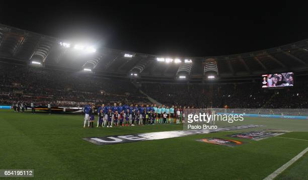 A general view of the UEFA Europa League Round of 16 second leg match between AS Roma and Olympique Lyonnais at Stadio Olimpico on March 16 2017 in...