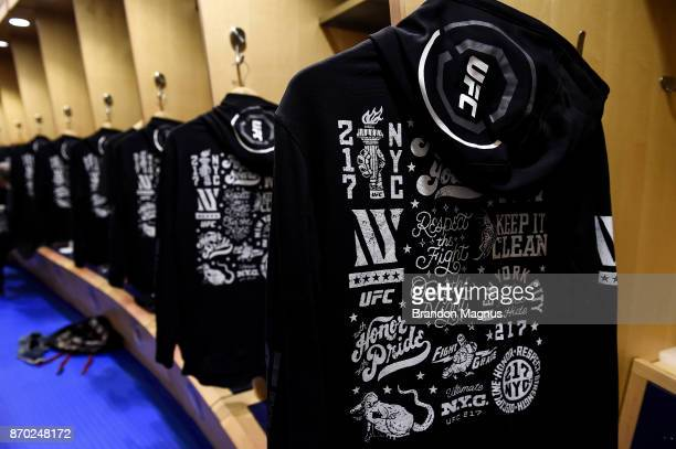 A general view of the UFC 217 sweaters backstage during the UFC 217 event inside Madison Square Garden on November 4 2017 in New York City