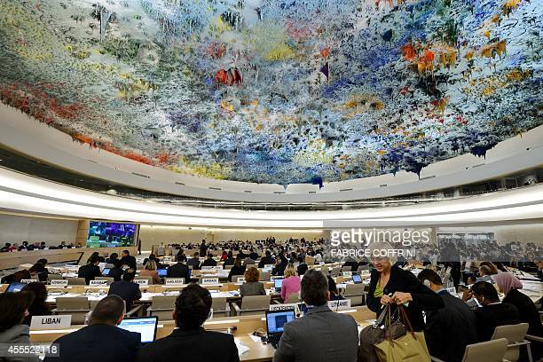 General view of the UN Human Rights Council session after the United Nations Commission of Inquiry on Syria delivered the latest report on the...