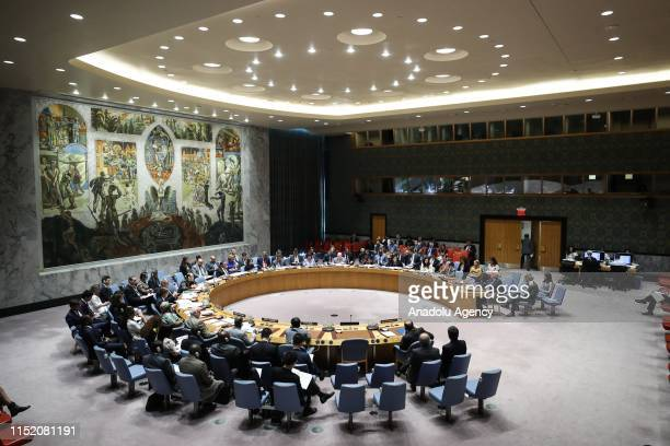 A general view of the UN Security Council on implementation of the resolution that endorsed the Iran nuclear deal at United Nations Headquarters in...