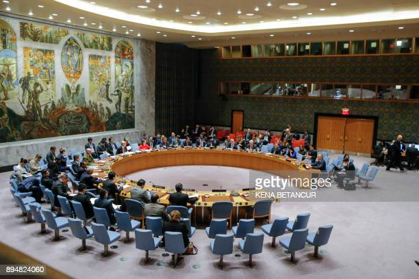 General view of the UN Security Council room during a meeting over the situation in the Middle East on December 18 at UN Headquarters in New York The...