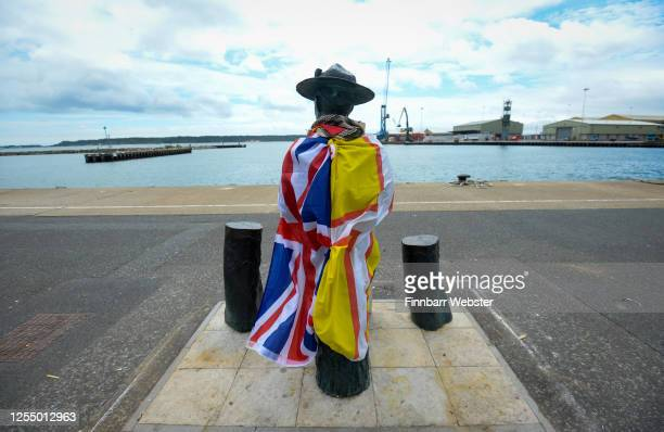 General view of the unboxed Lord BadenPowell statue on July 08 2020 in Poole United Kingdom The statue of Robert BadenPowell on Poole Quay was...