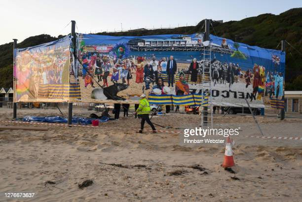 General view of the uncensored side of the artwork on Boscombe beach on September 25, 2020 in Bournemouth, England. The satirical artist Cold War...