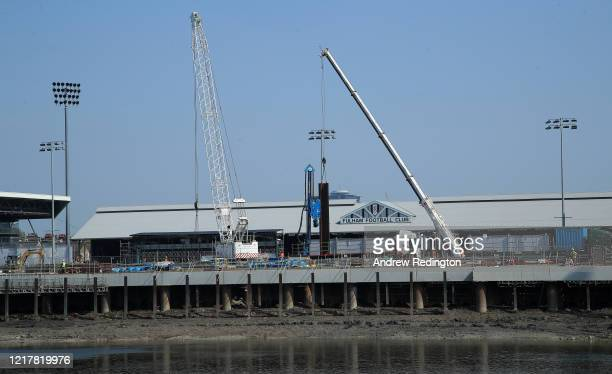 A general view of the under construction Craven Cottage stadium home of Fulham Football Club on April 09 2020 in London England All English football...