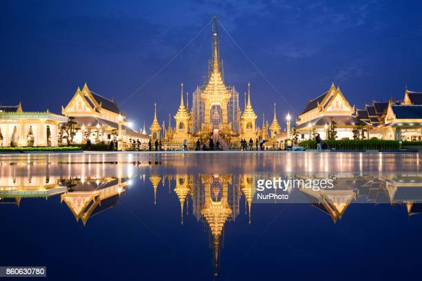 General view of the under construction royal crematorium for the late Thai King Bhumibol Adulyadej's funeral ceremony at Sanam Luang in Bangkok...