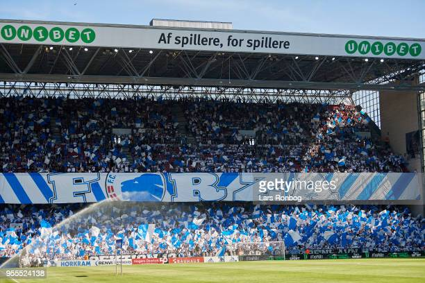 General view of the Unibet B stand prior to the Danish Alka Superliga match between FC Copenhagen and Brondby IF at Telia Parken Stadium on May 6...