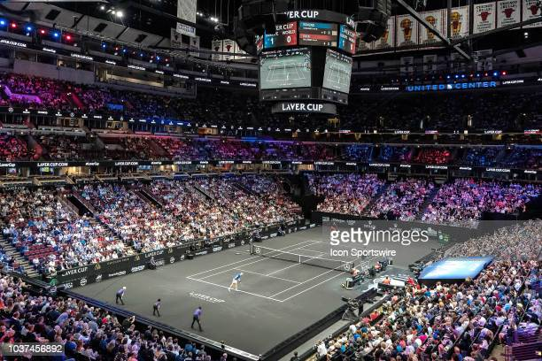 A general view of the United Center as Team World Jack Sock of the United States rplays against Team Europe Kyle Edmund of Great Britain during their...