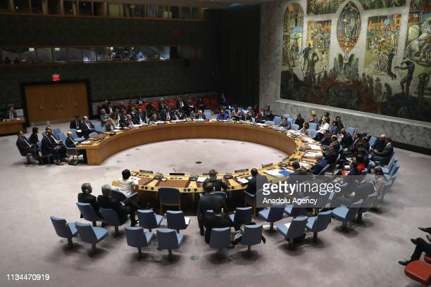 A general view of the United Nations Security Council during a meeting on Nonproliferation of Nuclear Weapons on April 02 2019 in New York United...