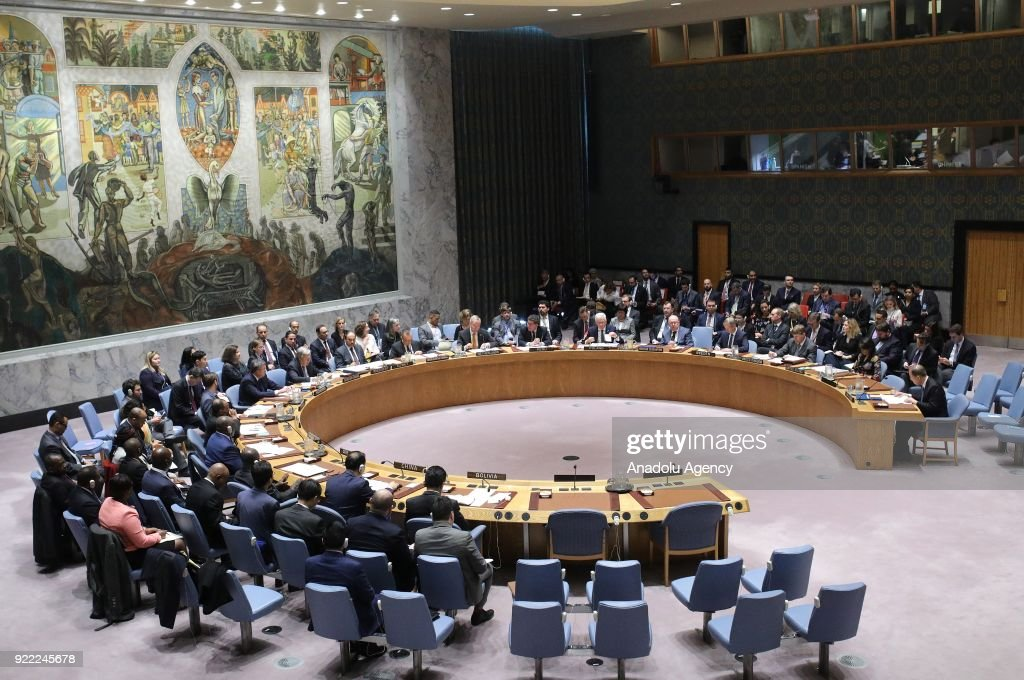 A general view of the United Nations Security Council meeting is seen in New York, United States on February 21, 2018.