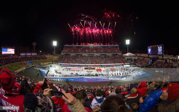 A general view of the United States Naval Academy during the national anthem prior to the Coors Light NHL Stadium Series game between the Toronto...