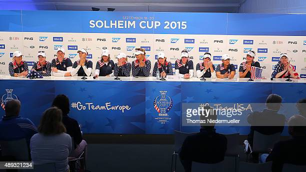 General view of the United States Team at the press conference after the 2015 Solheim Cup at St LeonRot Golf Club on September 20 2015 in Sankt...