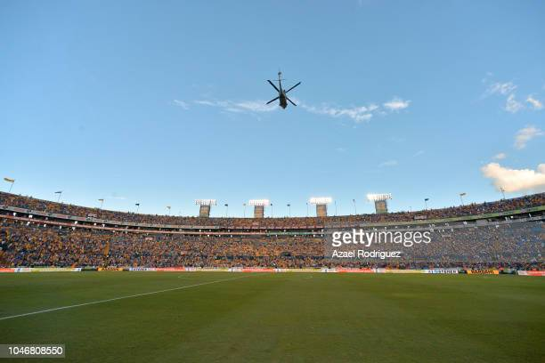 General view of the Universitario Stadium during a homage to fallen soldiers prior the 12th round match between Tigres UANL and America as part of...
