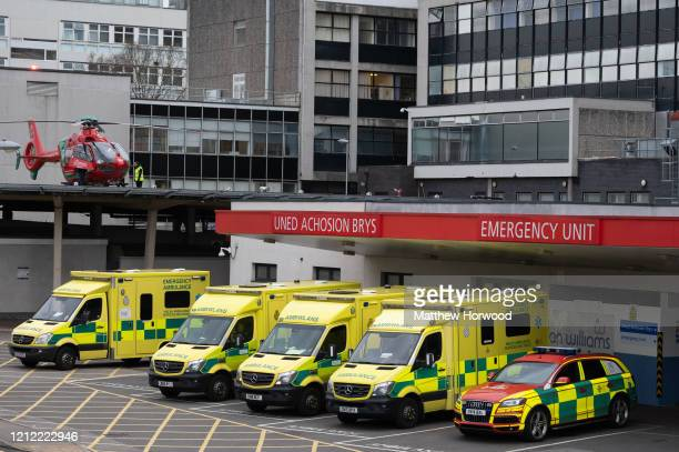 A general view of the University Hospital of Wales on March 13 2020 in Cardiff United Kingdom Welsh health minister Vaughan Gething has announced...