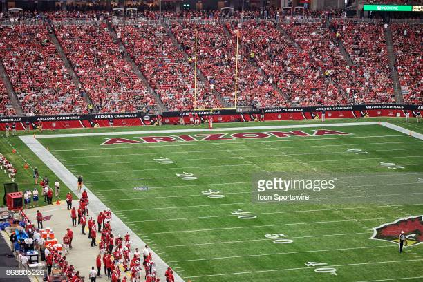 A general view of the University of Phoenix Stadium endzone is seen during the NFL game between the Arizona Cardinals and the San Francisco 49ers at...