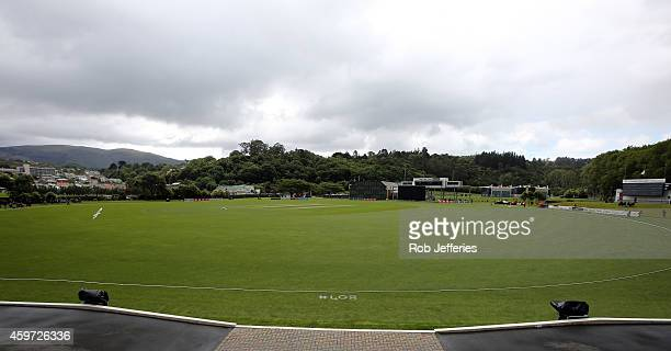 General view of the University Oval, Dunedin noting Australian cricketer Phillip Hughes' selection number 408 for his country painted on the ground...