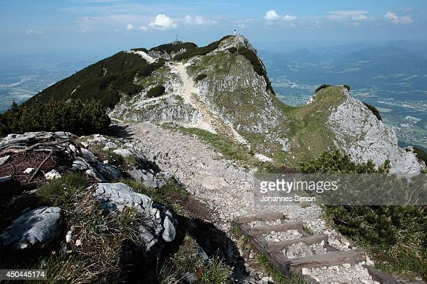 General view of the Untersberg peak near an underground cave where an explorer is lying injured 1000 meters below on June 11 2014 near...