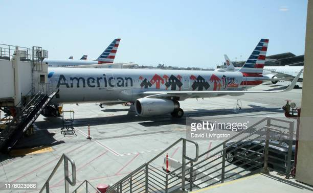 General view of the unveiling and inaugural flight of American Airlines' official Stand Up to Cancer plane at LAX Airport on September 20, 2019 in...