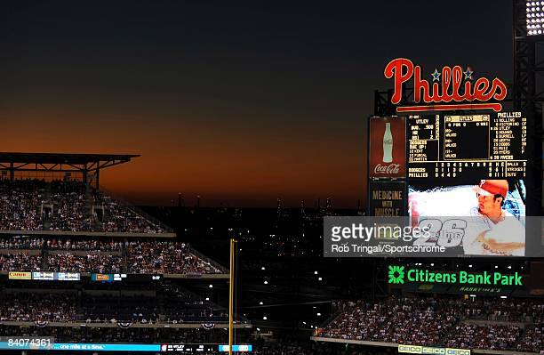 A general view of the upper deck and scoreboard at Citizens Bank Park at sunset during Game Two of the National League Championship Series between...