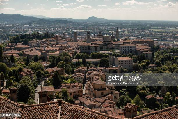 General view of the Upper Town on June 18, 2020 in Bergamo, Italy. The city of Bergamo is slowly returning to normality after the lockdown for...
