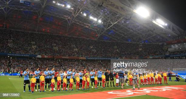 General view of the Uruguay and Portugal teams prior to kickoff Uruguay v Portugal FIFA World Cup 2018 Round of 16 Fisht Stadium