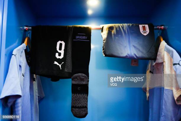 A general view of the Uruguay dressing room prior to the 2018 China Cup International Football Championship match between Uruguay and Czech Republic...