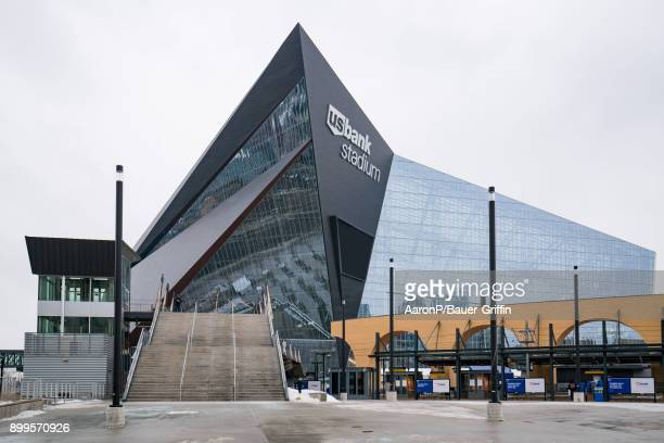 General view of the US Bank Stadium home of the Minnesota Vikings and Super Bowl LII on December 29 2017 in Minneapolis Minnesota