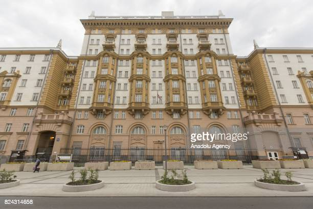 A general view of the US Embassy in Moscow Russia on July 29 2017 President Donald Trump has reviewed the final version of Russia sanctions...