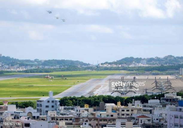 A general view of the US Futenma Air Base as the Okinawa gubernatorial election officially kicks off on September 13 2018 in Ginowan Okinawa Japan...